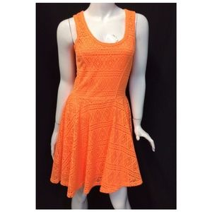 Express Orange Dress Skater S Sleeveless A-line